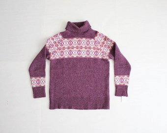 fair isle sweater / 60s sweater / purple wool sweater