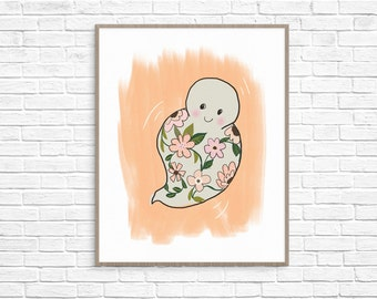 Floral Ghost Art Print, Halloween Printable, Ghost Printable, Halloween Wall Decor, Halloween Illustration, Ghost Illustration