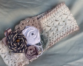 Women's Crochet Headband with Floral Embellishment, Ear Warmer, Angel hair trim, Lace, Satin, Linen, and Denim