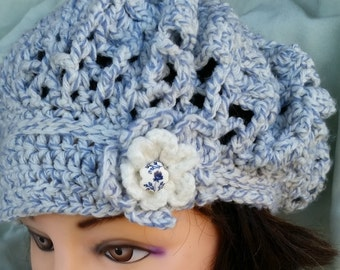 Crochet Hat with Small Brim, Girl's and Women's Beret, Light and Lacy Hat, Floral Embellishment