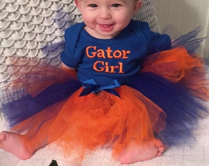 Gator Girl,UF,University of Florida,Baby Gator girl outfit,Blue bodysuit,New baby gift,Orange,blue tutu,Florida,Florida Gators Blue bodysuit