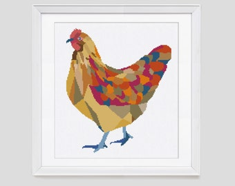 Chicken cross stitch pattern, modern counted cross stitch, chicken cross stitch pattern