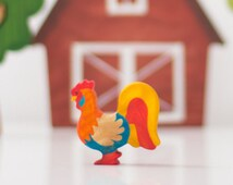 Wooden Rooster toy Miniature animal figurines Barnyard Animals Educational toy Learning toy Waldorf nature table Handmade Toy for boys