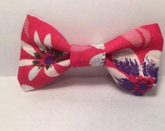 Pink Floral Hair Bow, Pink Hair Clip, Purple Flower