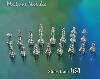 Chess Pieces Charm Collection (16), Antique Silver Chess Charms Pendants, CHESS PIECES: pawn, castle, knight, bishop, queen, king
