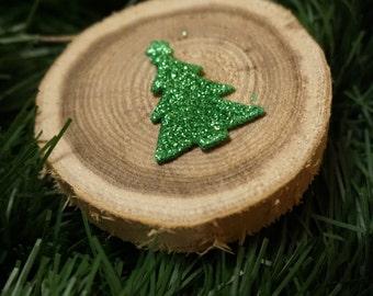 Rustic wood tree ornament/ Christmas tree ornament/ sparkly christmas tree ornament