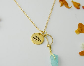 Custom Stamped Gold Filled Coin Necklace    Custom Words Stamped on Metal    Stamped Metal Jewelry    Sorority Stamped Jewelry
