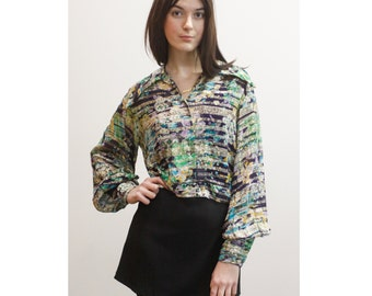 Vintage Sheer Floral Cropped Blouse w/ Gold Stripes 60s 1960s Metallic Floral Button Up Crop Top w/ Collar and Bishop Sleeves M Md Medium