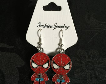 Silver Plated Marvel Super Heroes Spider-Man Earrings
