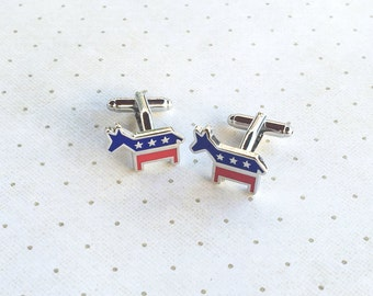 Democratic Donkey Cufflinks Cuff Links in Silver