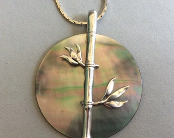 Beautiful Abalone Shell Disc Sterling Silver Bamboo Pendant and Silver Chain Necklace