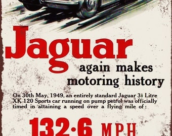 1949 Jaguar Speed Record Vintage Look Reproduction Metal Sign