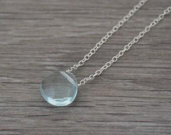 Light Blue Chalcedony Necklace • Sterling Silver Clear Blue Chalcedony Teardrop Necklace • UK Seller