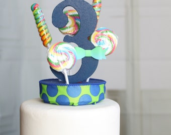 Lollipop Cake Topper 3rd Birthday (Blue)