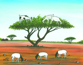 Goats in the Acacia tree 11x14 inches