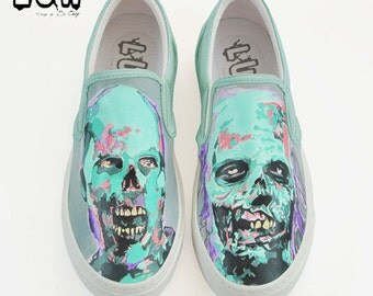 WALKERS - the walking dead shoes, zombie, walkers, rick grimes, daryl dixon, pop art zombie, zombie handpaint shoes, custom slip on