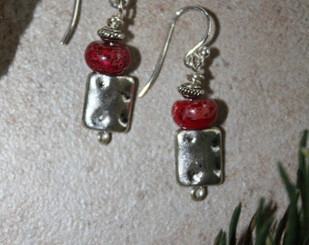Red turquoise and silver charm earrings, sterling ear wires, boho, rustic, southwest, artisan