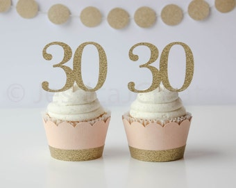 30th Birthday Cupcake Topper - 30th Party Decor - Cupcake Toppers - Peach and Gold Party Decor - 30th Birthday