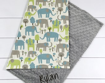 Personalized Baby Blanket - Monogrammed Elephant Baby Boy Blanket - Grey Elephant Baby Blanket - Blue Elephant Custom Blanket