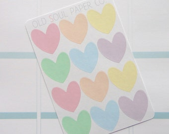 50% OFF CLEARANCE Heart Stickers - Pastel