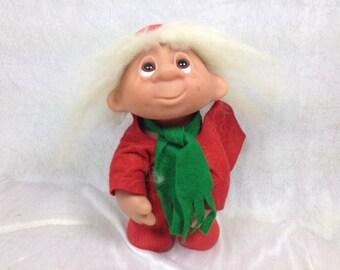 1970's Dam Limited Edition Christmas Troll Doll - Boy Troll - 10 Inches
