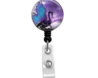 Blue Wing Dragon Badge Reel, ID Badge Holder, Medical Badge Reel, Belt or Alligator clip