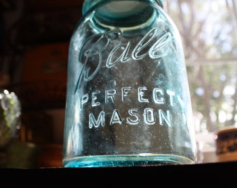 Antique Blue, Ball Perfect Mason #8 Jar with Zinc Lid