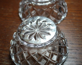 Set of 2 Crystal Glass Condiment Bowls