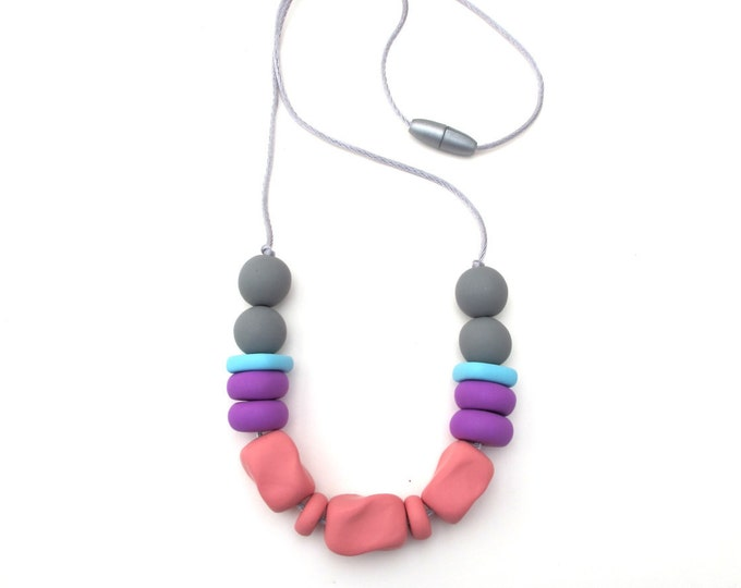 SALE (HALF PRICE) Starling plume// Pink, purple and grey bead necklace//  Handmade chunky  bead necklace//  Hypoallergenic// #SN3041