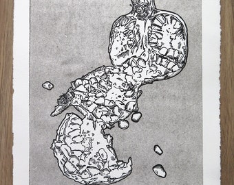 Pomegranate Black & white, linocut, print