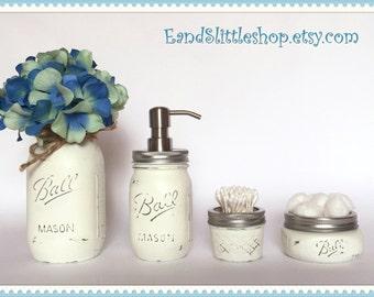 Mason Jar Bathroom Set of 4-White-RustProof Soap Pump & Lid-Wedding Gift-Shabby Chic Decor-Farmhouse Decor-Country Decor-Housewarming gifts