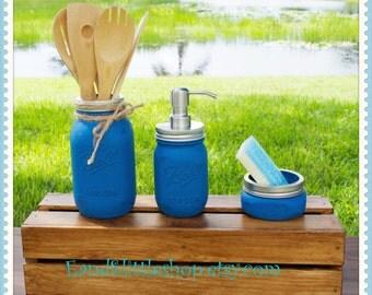 Mason Jar Kitchen Set of 3-Blue & Gray-Soap Dispenser-Rustic Kitchen-Housewarming gifts-Wedding Gift-Vintage Decor-Shabby Chic-Country Decor