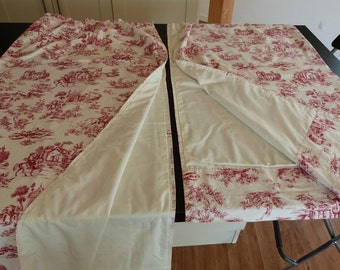 Vintage 1950s French Toile De Jouy lined Curtains, raspberry red on cream, hand pressed ' grand teint, hand finished.