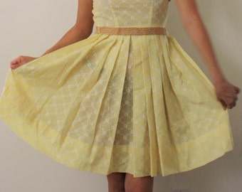 Vintage 1960s dress/ 1950s day dress/ yellow day dress
