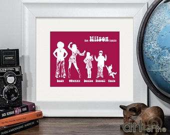 Personalised 60's / 70's Hippie Flower Power Style Family Names and Silhouettes Print - makes perfect unique christmas xmas gift