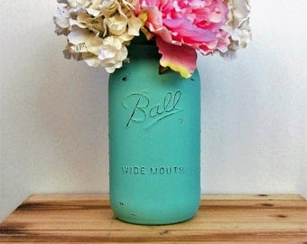 Large Painted Aqua Mason Jar / Half Gallon Mason Jar / Rustic Centerpiece / Country Chic Decor / Aqua Vase