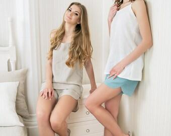 Linen sleepwear / flax pyjama Set / Linen sleepwear set / top and shorts set / sleepwear / Luxurious natural linen pyjamas / linen nightwear