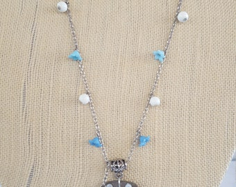 Blue Sun recycled key necklace