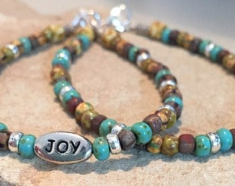 Multicolored bracelet, message bracelet, charm bracelet, Czech glass beads, Hill Tribe silver bracelet, boho bracelet, gift for her