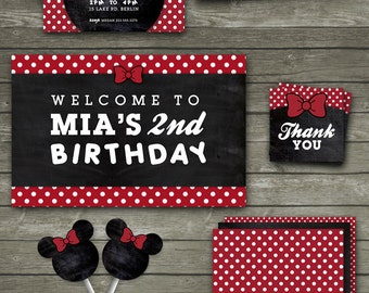 Minnie Mouse Inspired Birthday Party Printables, Minnie Mouse Printable Party Package, Minnie Mouse Inspired Birthday Party Decor