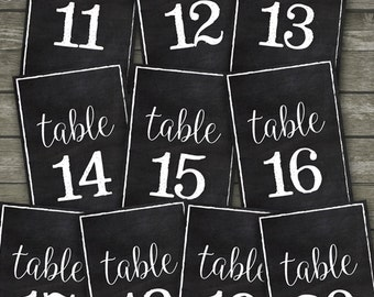 Printable Chalkboard Rustic Style Table Numbers for Weddings and Parties, Printable Chalkboard Table Number Signs 11-20