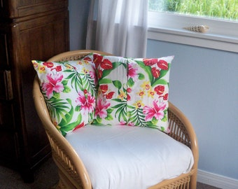 Pillow Covers 16x16- Set of Two Tropical Pillow Covers Decorative Throw Pillows Button Pillow Envelope Pillow Covers Made in Hawaii