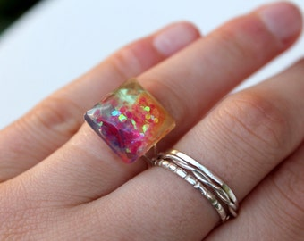 Glitter Ring - Square Ring - Resin Ring - Statement Ring - Adjustable Ring - Multicolour Ring - Resin Jewellery