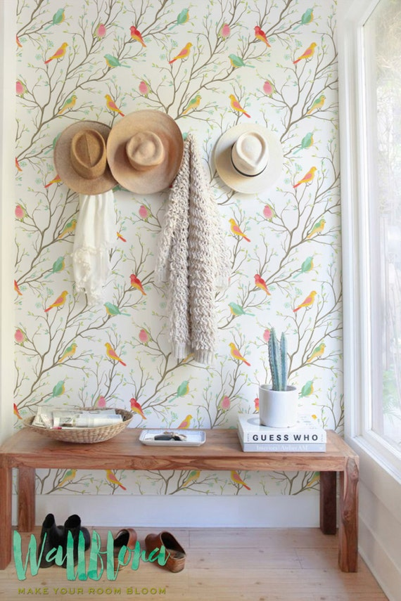 Colourful Birds Pattern Wallpaper Removable By Wallflorashop