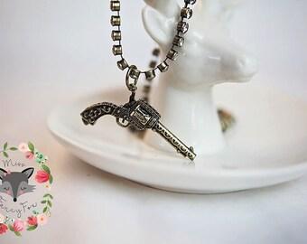 Pistol Gun Revolver Necklace