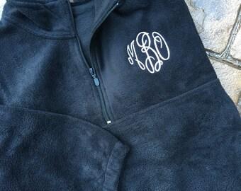 Monogrammed Fleece Pullover – Half Zip Fleece- Quarter Zip Fleece – Personalized – Monogrammed Jacket - Black