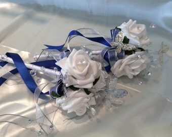 Flowergirl Wand White Rose & Royal Blue Ribbon, Butterfly Wand