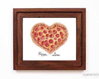 Pizza Love Art Print, Food Art, Kitchen Art, Restaurant Decor, Food Wall Art, Watercolor Illustration, Wall Decor, Frameable Art