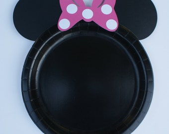 12 Minnie Mouse Plates, Minnie Mouse Dinner Plates, Minnie Mouse Dinner Plates Handmade