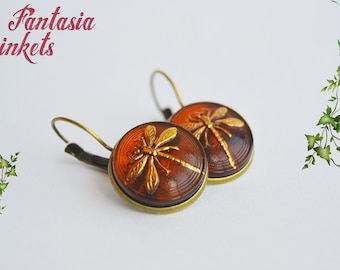 "Outlander inspired - Dragonfly in Amber Earrings - Czech Glass Buttons on Leverback Brass Earrings - Claire Fraser ""Sassenach"" Jewelry"